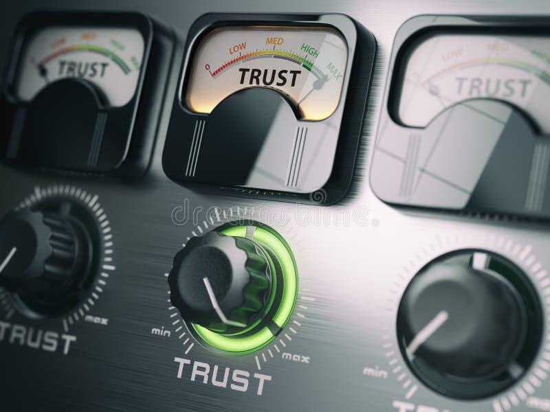 信任概念 信任在最大位置的开关瘤 库存例证