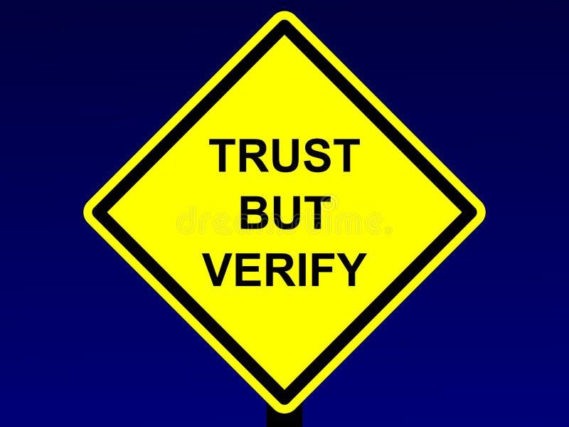 信任,但是核实标志 向量例证