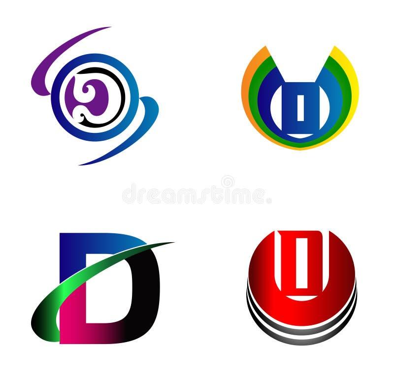 信件D商标设计样品象集合 向量例证