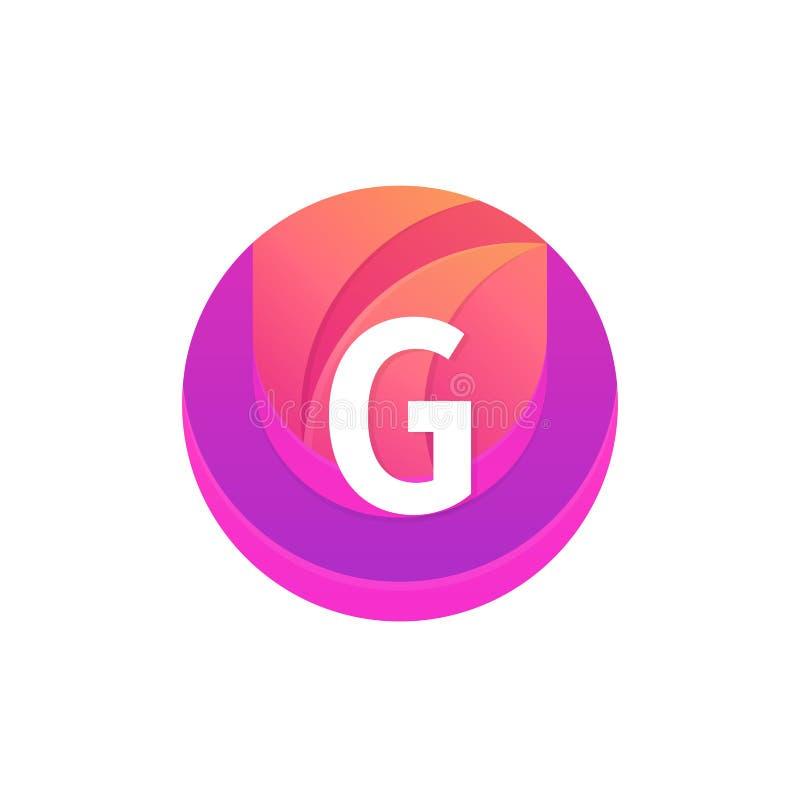 信件G商标摘要圈子形状元素 传染媒介圆compan 向量例证