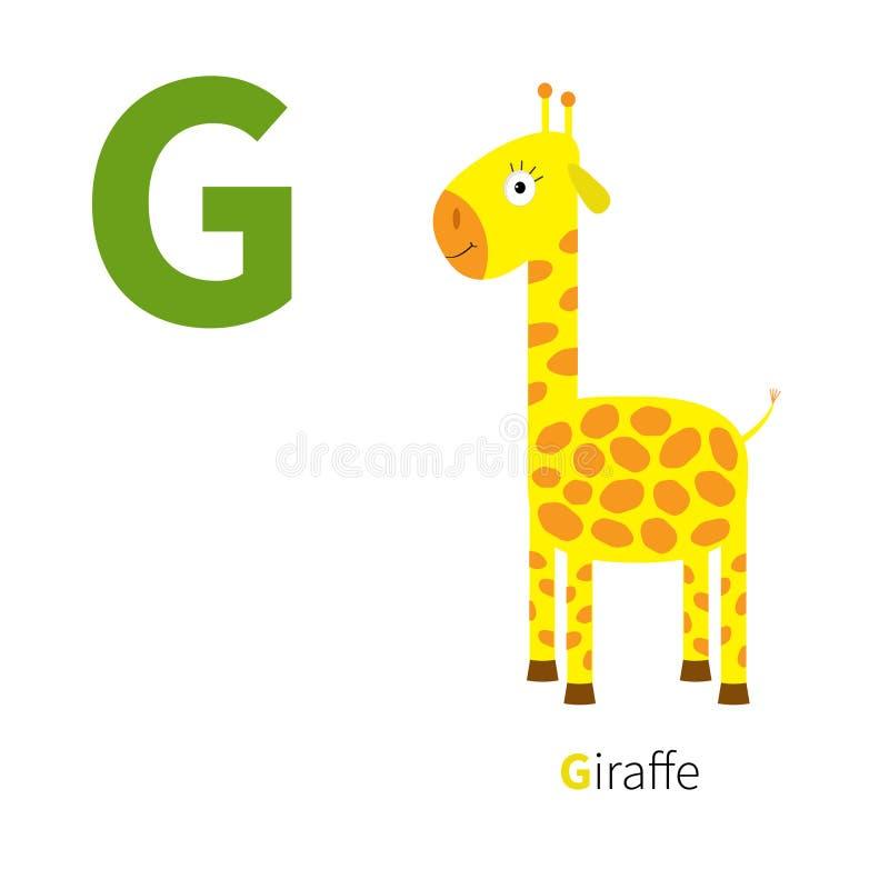 信件G长颈鹿动物园字母表 与动物教育卡片的英国abc孩子白色背景平的设计的 向量例证