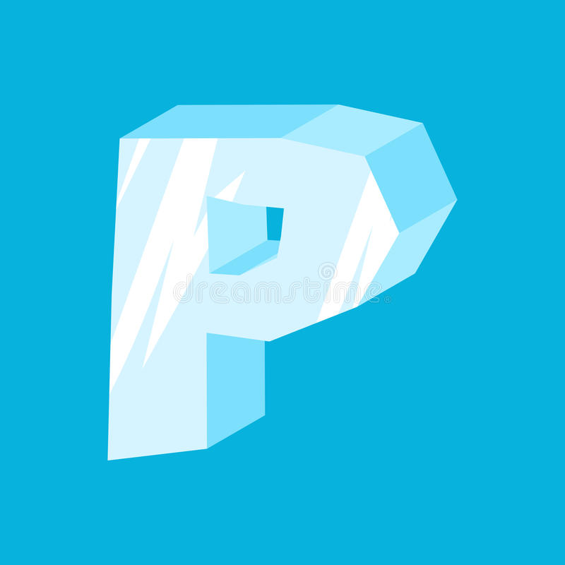 信件P冰字体 冰柱字母表 结冰字法 冰山A 皇族释放例证