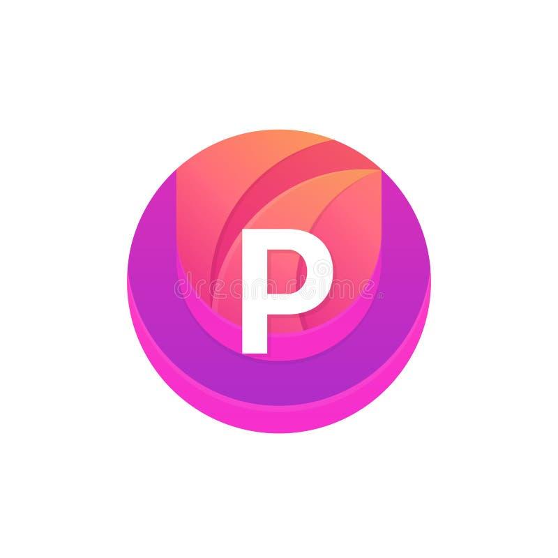 信件P商标摘要圈子形状元素 传染媒介圆compan 向量例证