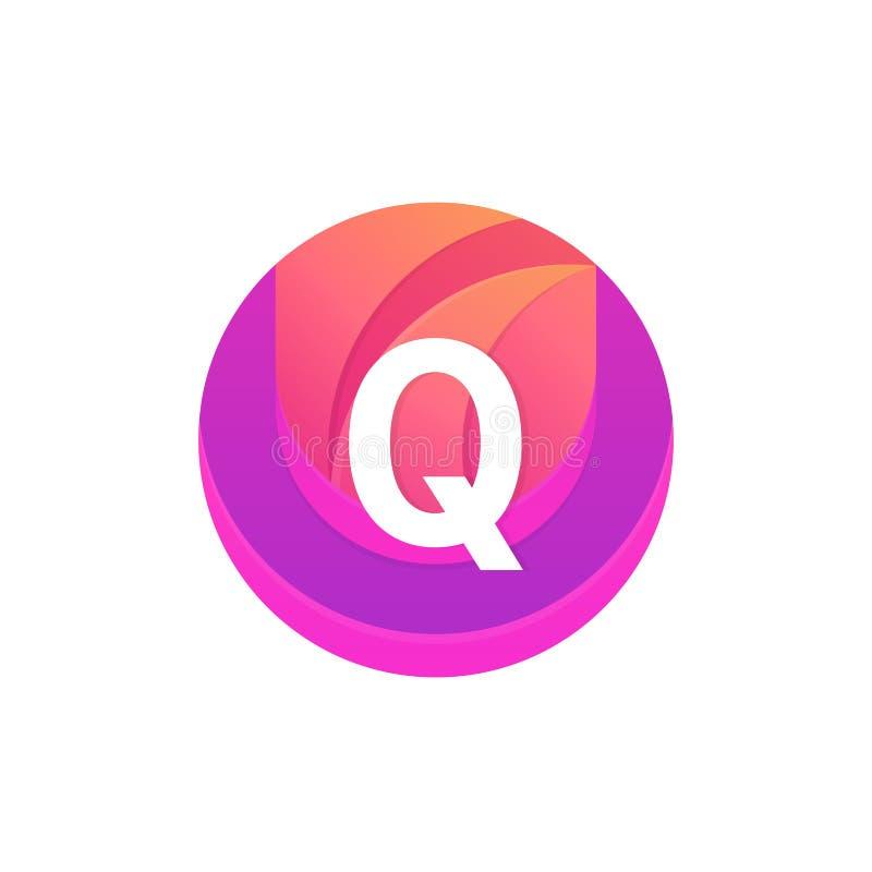 信件Q商标摘要圈子形状元素 传染媒介圆compan 向量例证