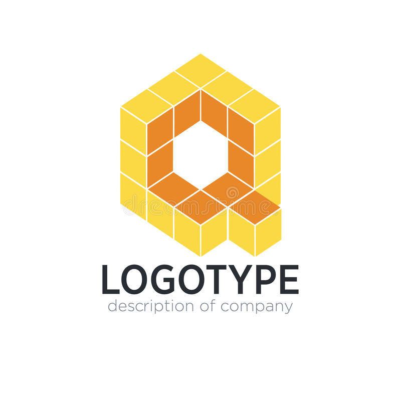 信件Q立方体形象商标象设计模板元素 库存例证