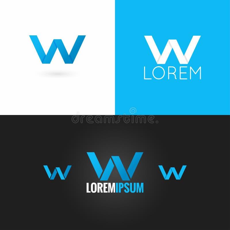 信件W商标设计象集合背景 向量例证
