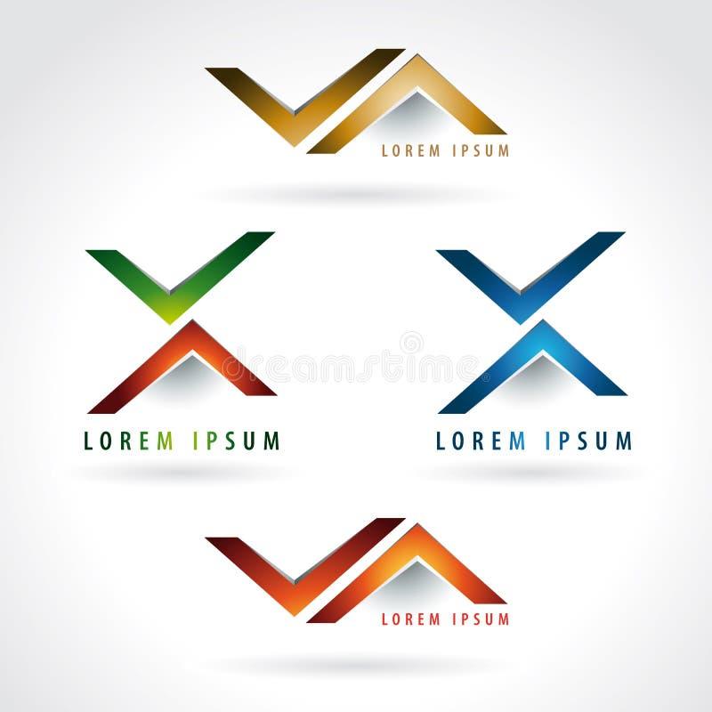 信件x和箭头形状商标 库存例证