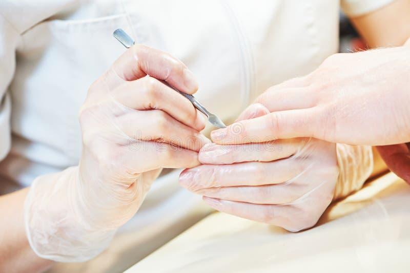 修剪做邮件手指钉子关心的专家妇女 免版税库存照片