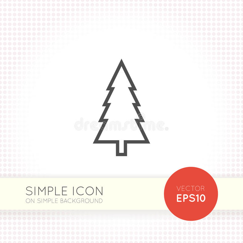 修剪,在一个minimalistic平的设计的圣诞树象 皇族释放例证