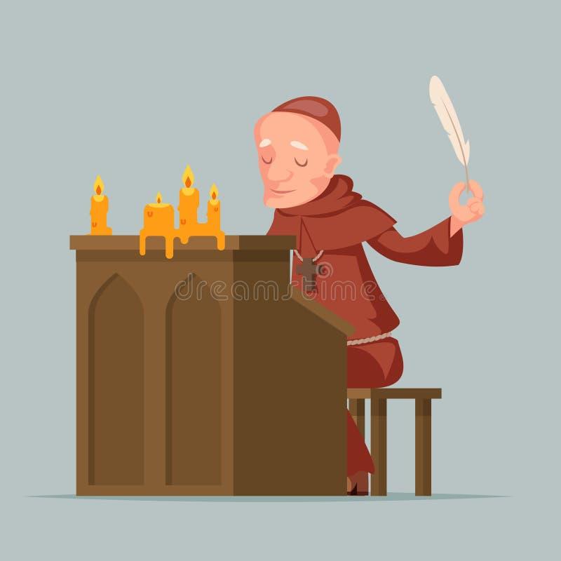修士写记载历史事件作家抄写员中世纪立场羽毛笔墨水纸卷拷贝蜡烛动画片 向量例证