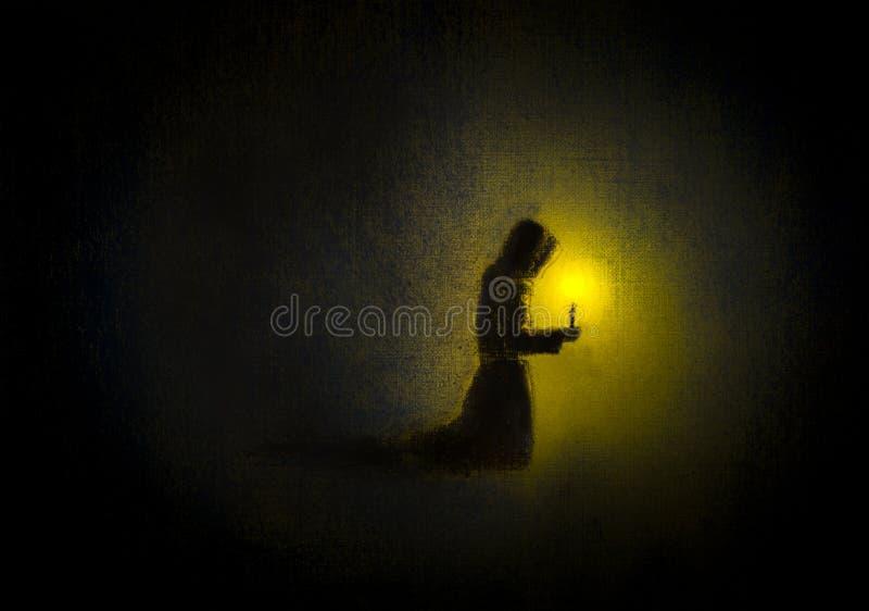 修士祈祷 向量例证