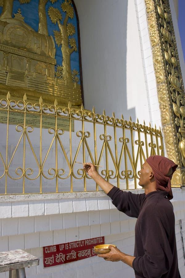 修士绘世界和平塔,尼泊尔 图库摄影