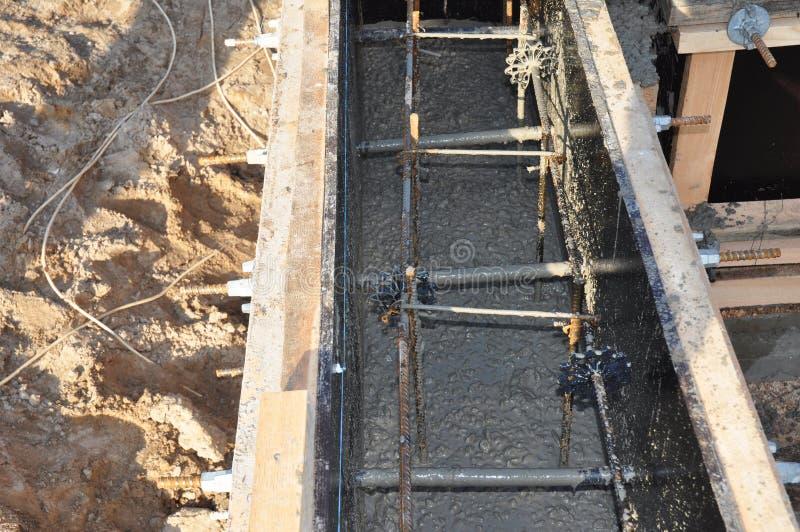 修建一个新房的基础建筑 基础的类型 库存图片