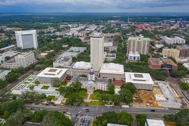 修建塔拉哈西的空中照片佛罗里达状态国会大厦 图库摄影