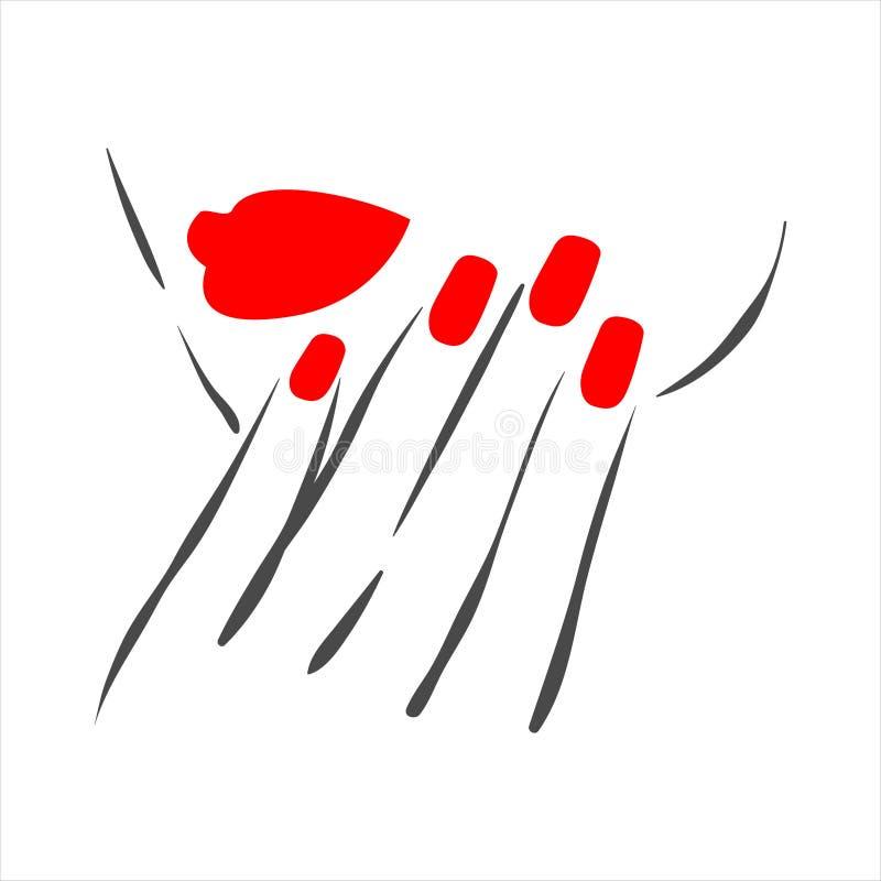 修指甲和指甲油的传染媒介手拉的例证在妇女手上 库存例证