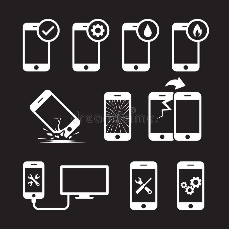 修理、流动的服务和的维护或被设置的聪明的电话象 向量例证