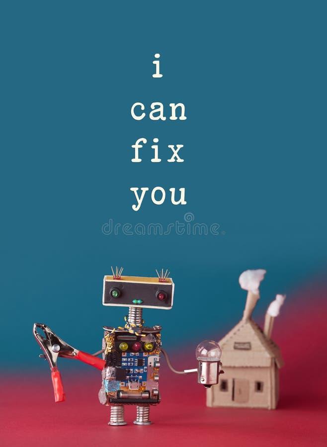 修理保养概念 有钳子电灯泡的友好的房子大师机器人杂物工 纸与烟的工艺大厦 免版税库存照片