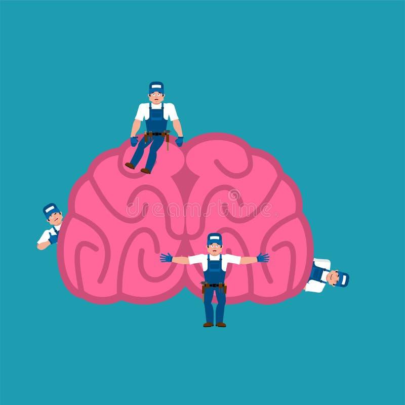 修理和维护脑子 微型工作者和脑子 Medi 皇族释放例证