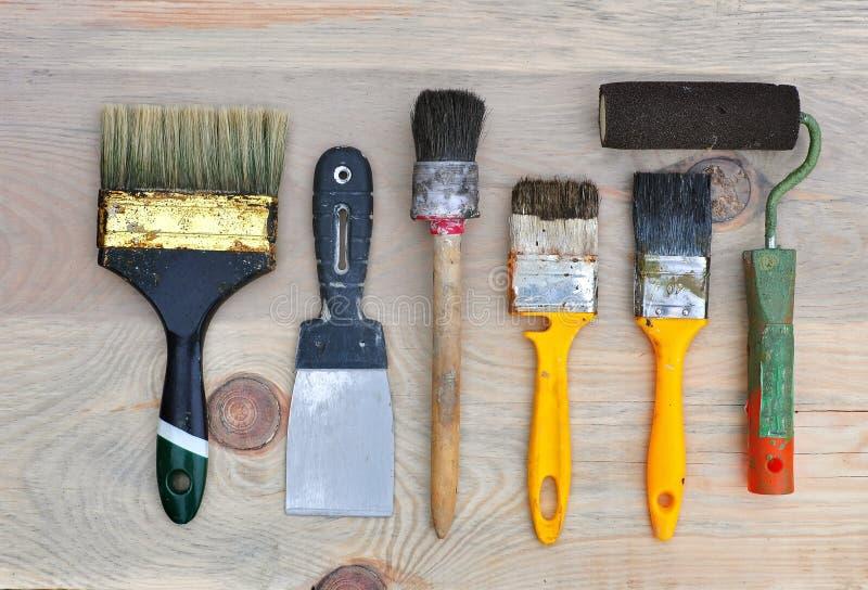 修理和绘的套老工具 库存照片