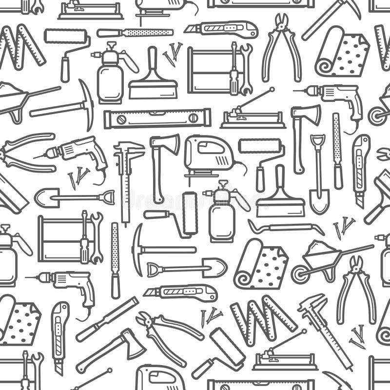修理和DIY建筑工作工具样式 库存例证