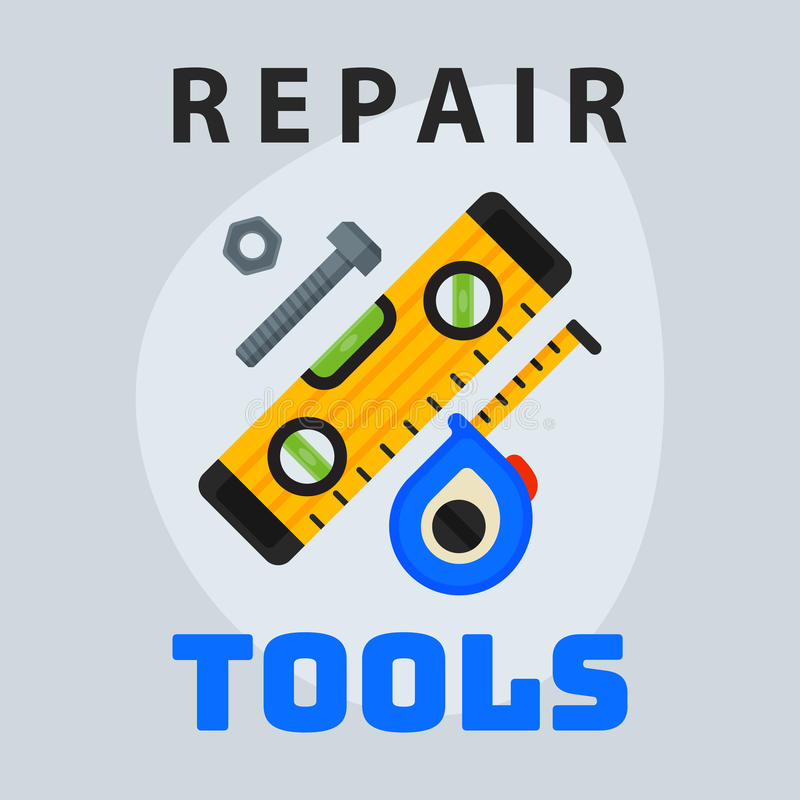 修理工具平实测量的磁带象创造性的图形设计商标元素并且为建筑工作事务服务 库存例证