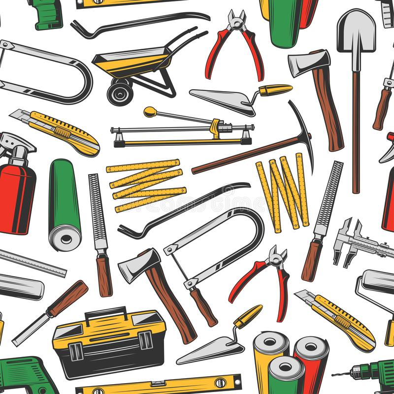 修理工具无缝的样式,工作仪器 库存例证