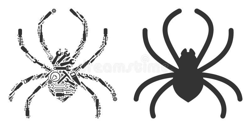 修理工具蜘蛛拼贴画  库存例证