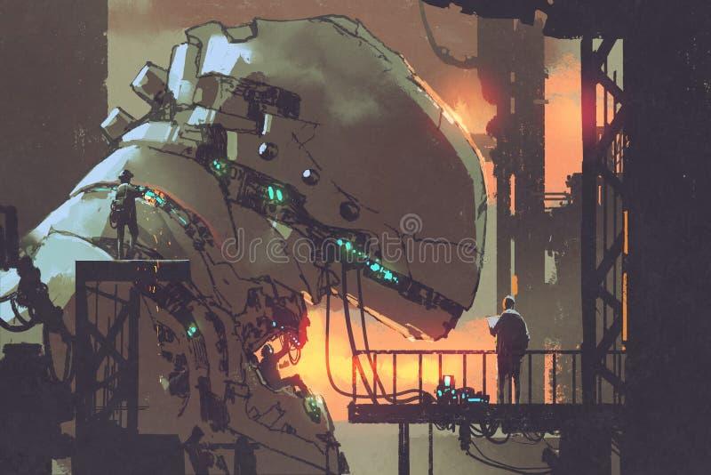 修理巨型机器人的Mechanicals在工厂 向量例证