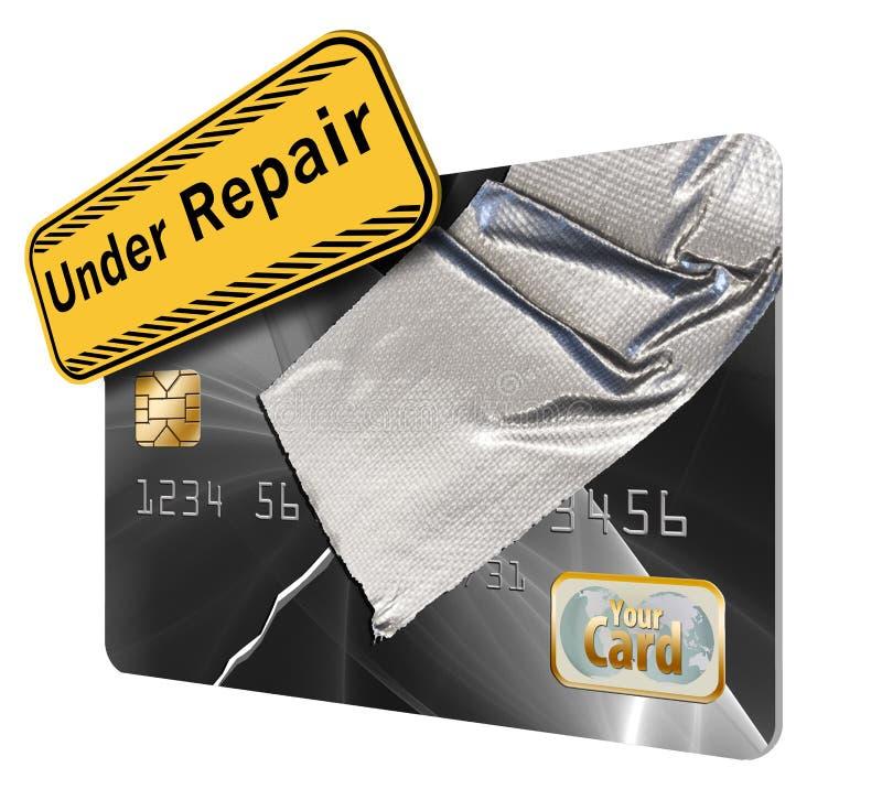 修理您的信用卡记载和比分是这张信用卡题材修理与胶带 向量例证