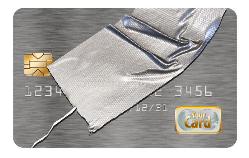 修理您的信用是显示一张损坏的信用卡修理与输送管轻拍这个例证的题材  向量例证