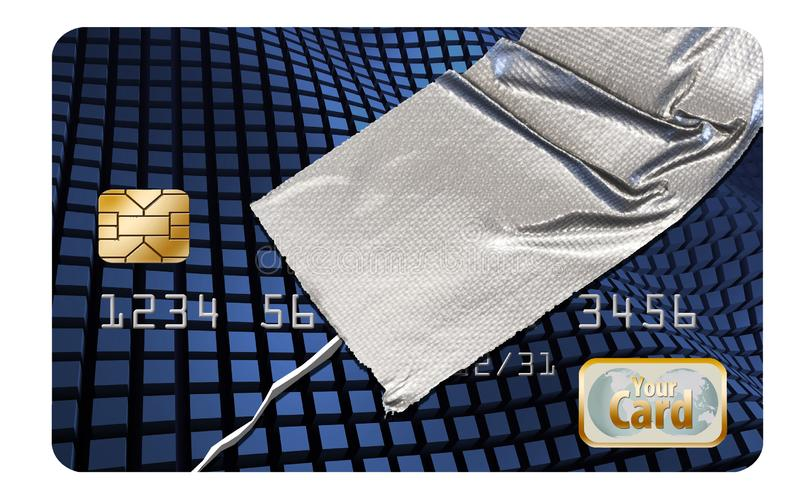 修理您的信用是显示一张损坏的信用卡修理与输送管轻拍这个例证的题材  皇族释放例证
