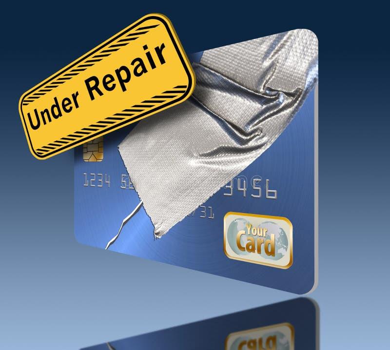 修理您的信用是显示一张损坏的信用卡修理与输送管轻拍这个例证的题材  库存例证