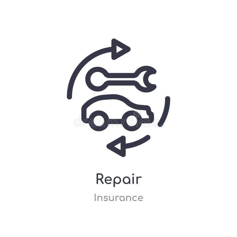 修理概述象 r 在白色的编辑可能的稀薄的冲程修理象 库存例证