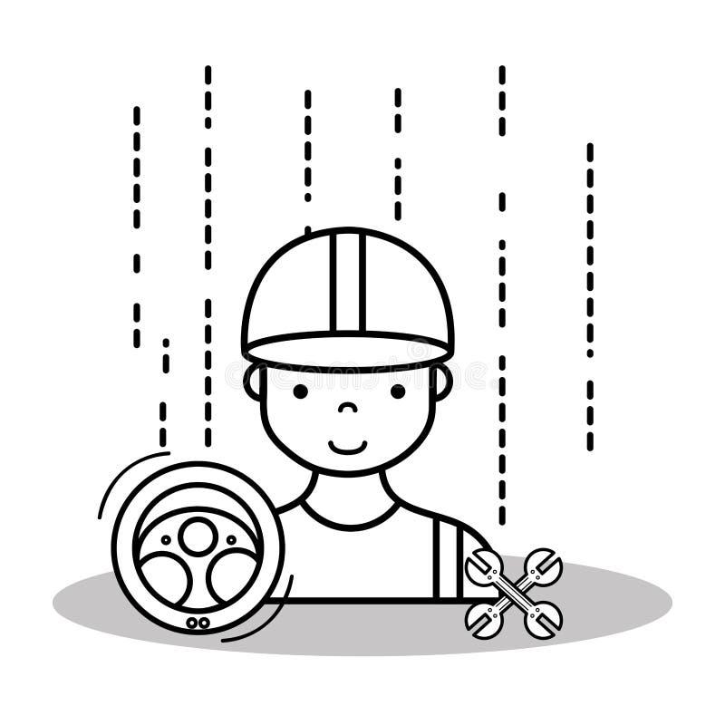修理汽车的技工服务站 向量例证