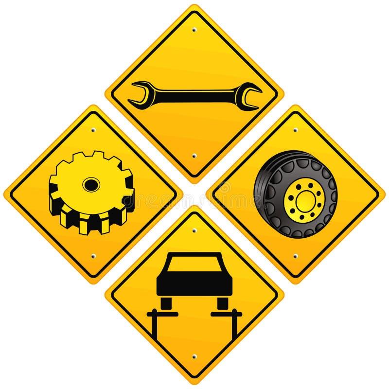 修理符号的汽车修理师 库存例证