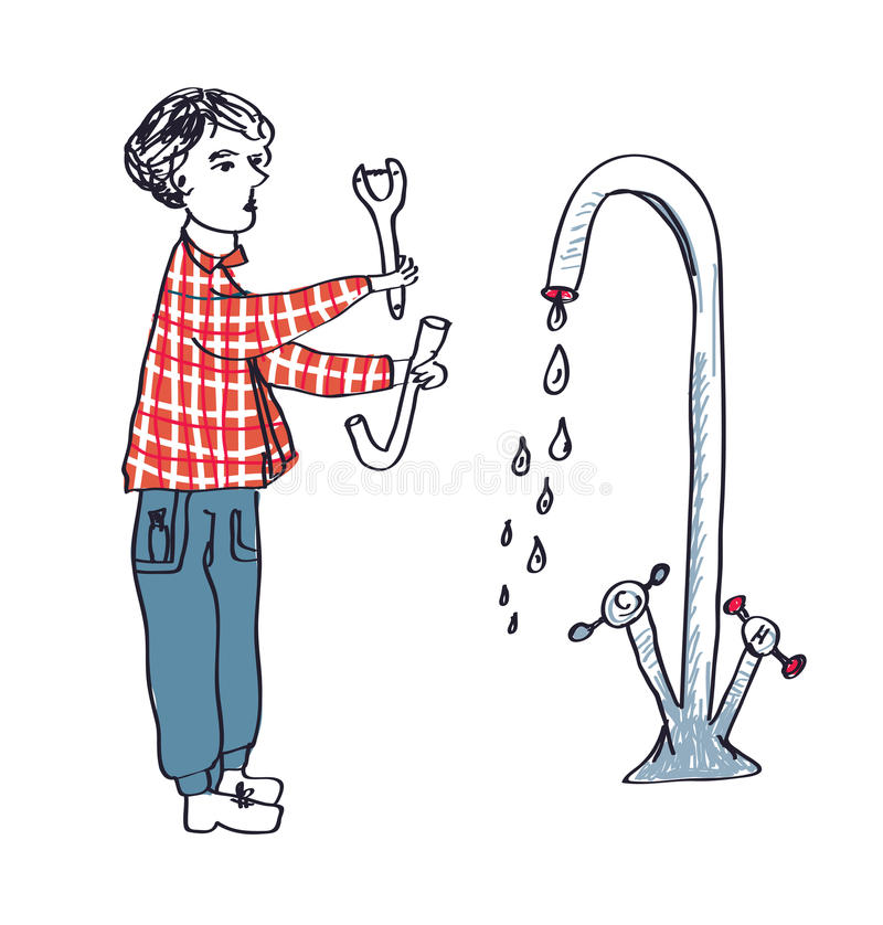 修理管子的水管工 库存例证