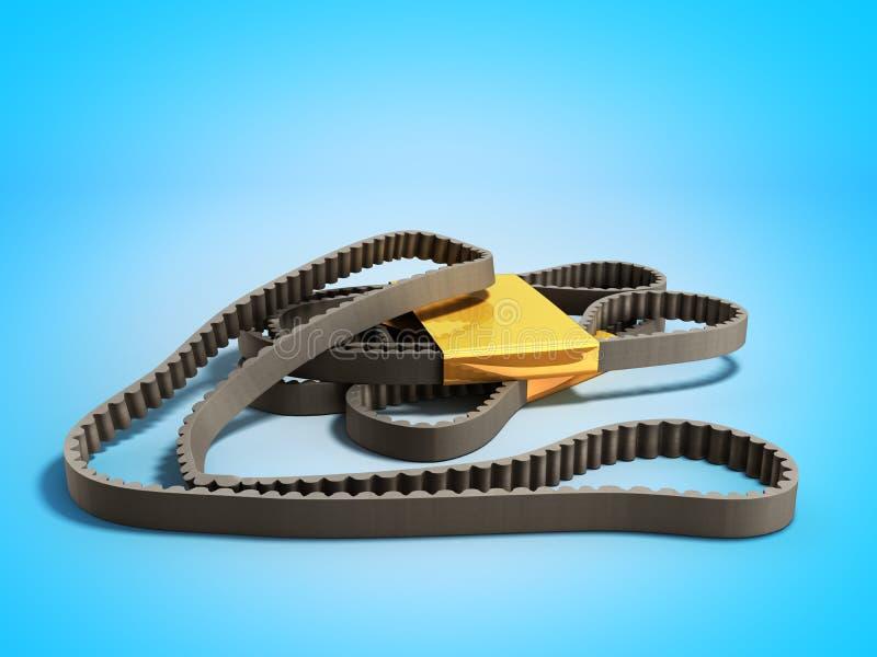 修理worck概念传送带发动机同步皮带3d在bl回报 向量例证