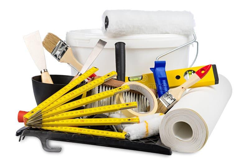 整修装饰diy工具和油漆桶 免版税图库摄影