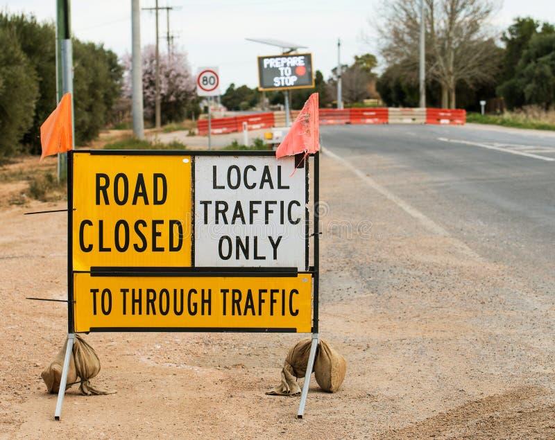 修路标志,被封锁的路 免版税库存图片
