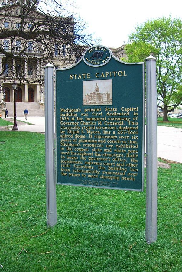 修造历史标志的密西根州议会大厦 库存照片