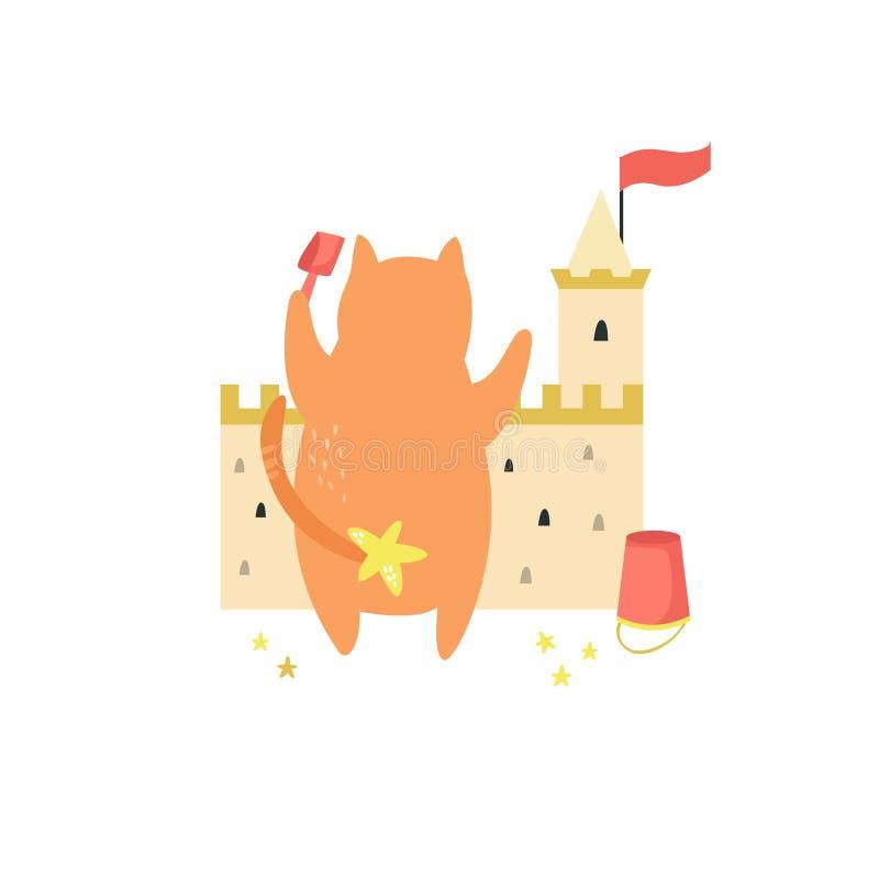 修造在海滩的滑稽的猫沙子城堡 皇族释放例证