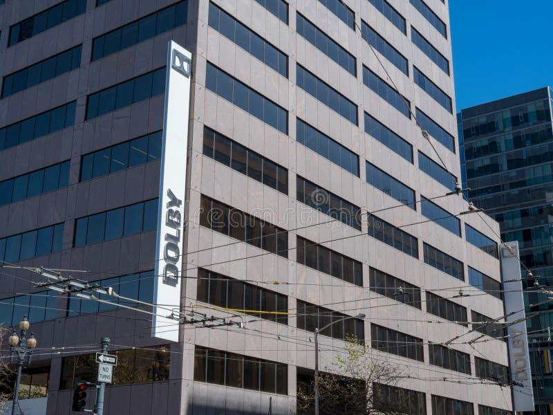 修造在街市旧金山的杜比总部 库存照片