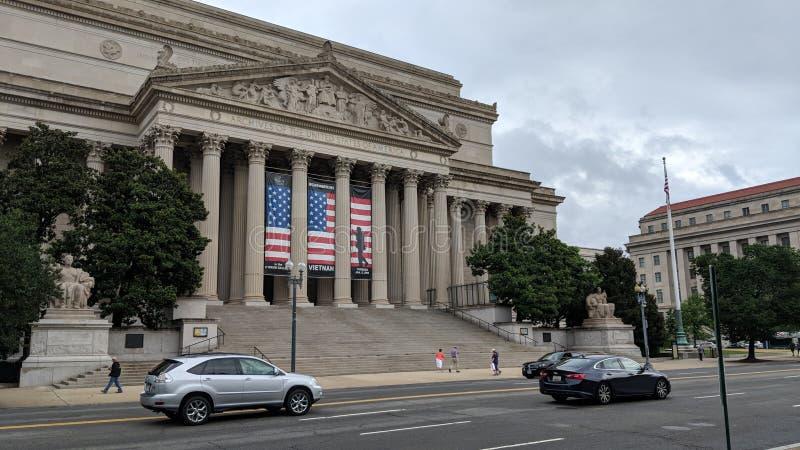 修造外部哥伦比亚特区的全国档案 免版税图库摄影