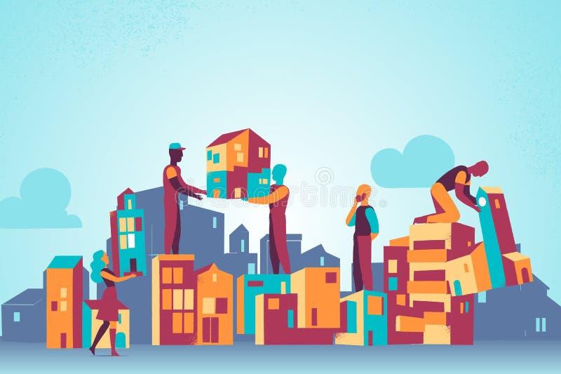 修造建设中用工作者在剪影和地平线 向量例证