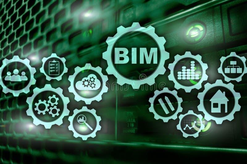 修造的信息塑造 在虚屏上的BIM有服务器数据中心背景 向量例证