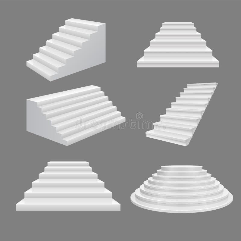 修造的台阶例证 3D在顶楼上的scala例证白色现代楼梯 传染媒介装饰梯子 向量例证