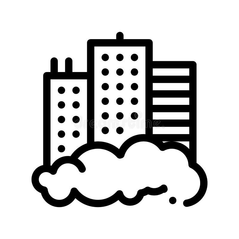 修造的摩天大楼和烟雾传染媒介稀薄的线象 向量例证