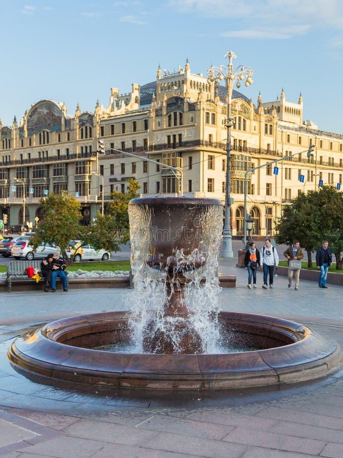 修造的旅馆Metropol,莫斯科,俄罗斯的看法Kopyerskij Pereulok街道的 免版税库存照片