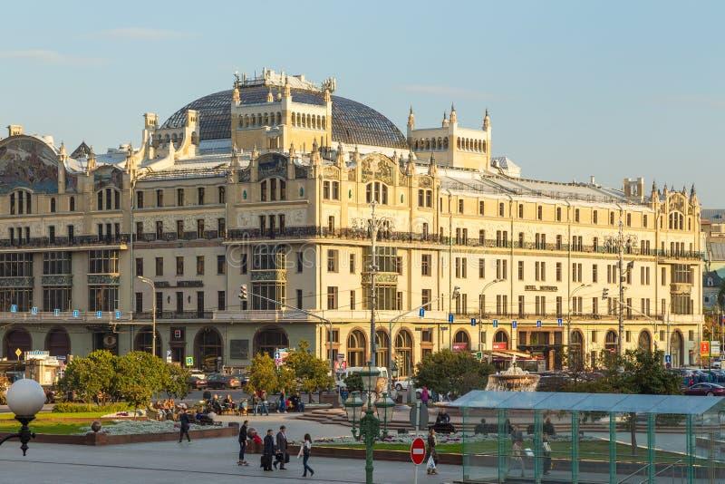 修造的旅馆Metropol,莫斯科,俄罗斯的看法Kopyerskij Pereulok街道的 图库摄影