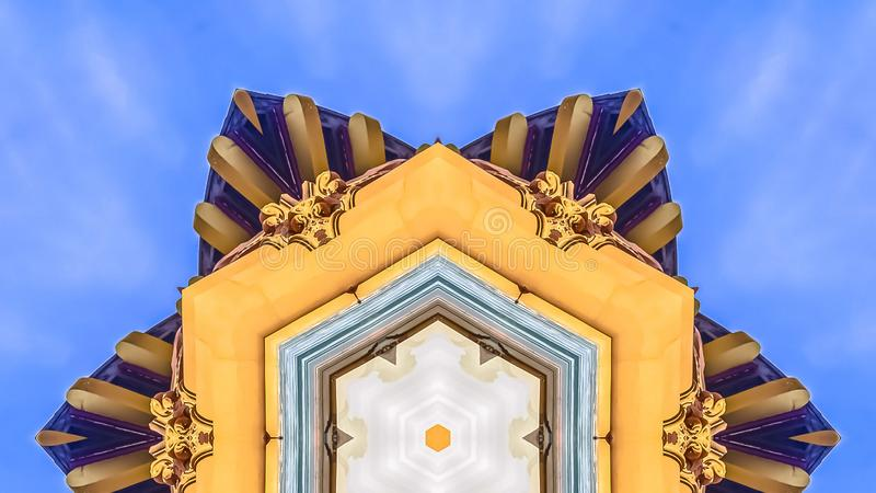 修造的装饰门面样式的全景星 库存例证